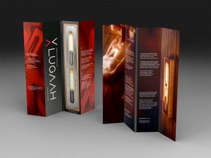 Prezentacja produktu na składanej ulotce zaprojektowanej przez Pictorial dla marki Lugaah